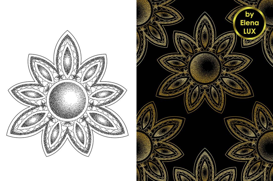 Mandala Dotwork Tattoo and Seamless Patterns example image 1