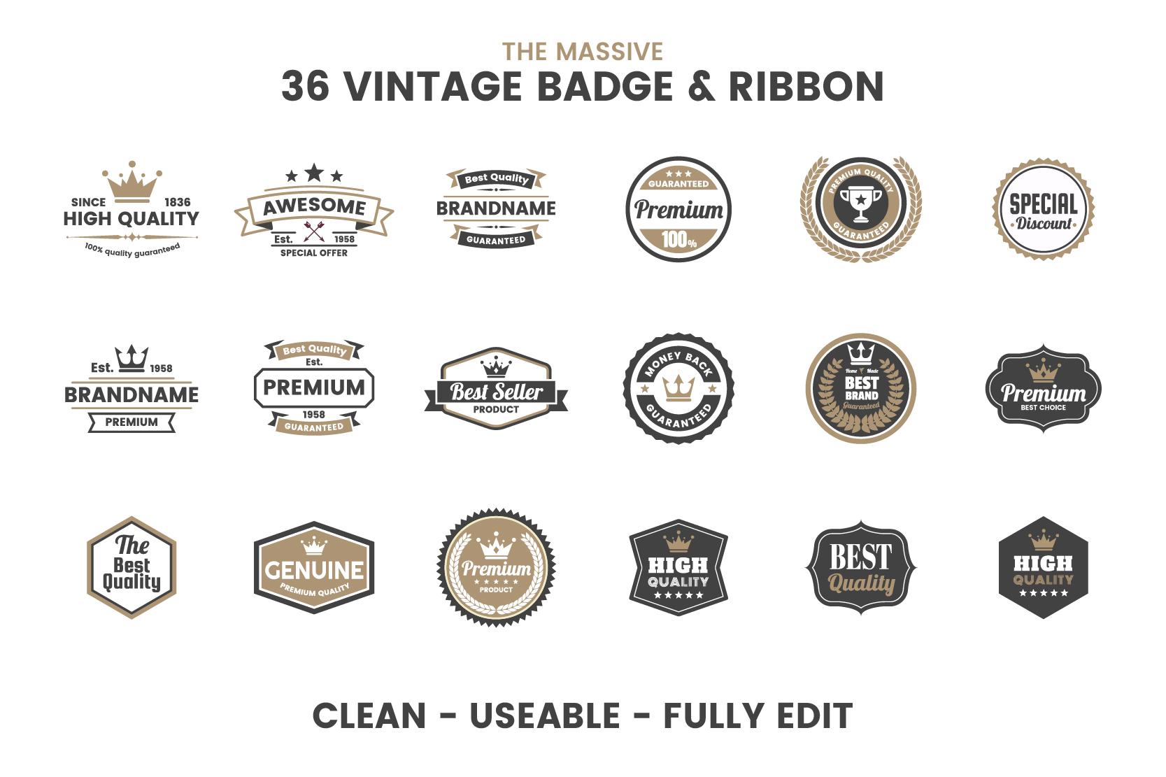 36 VINTAGE BADGE & RIBBON Vol.5 example image 5