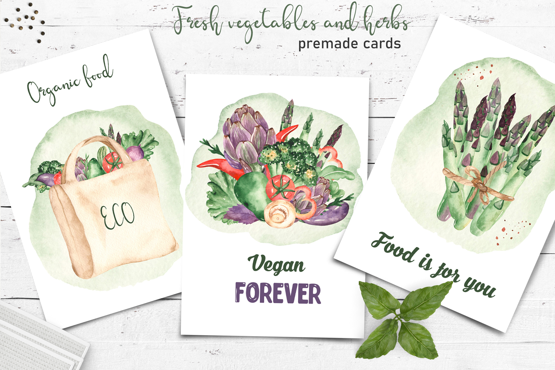 Vegetables and herbs Watercolor collection Clipart example image 6
