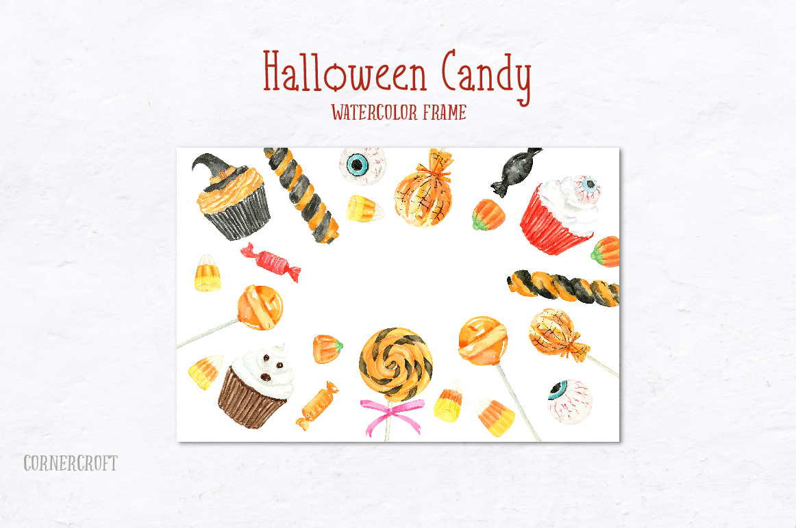 Watercolor Halloween Candy example image 3