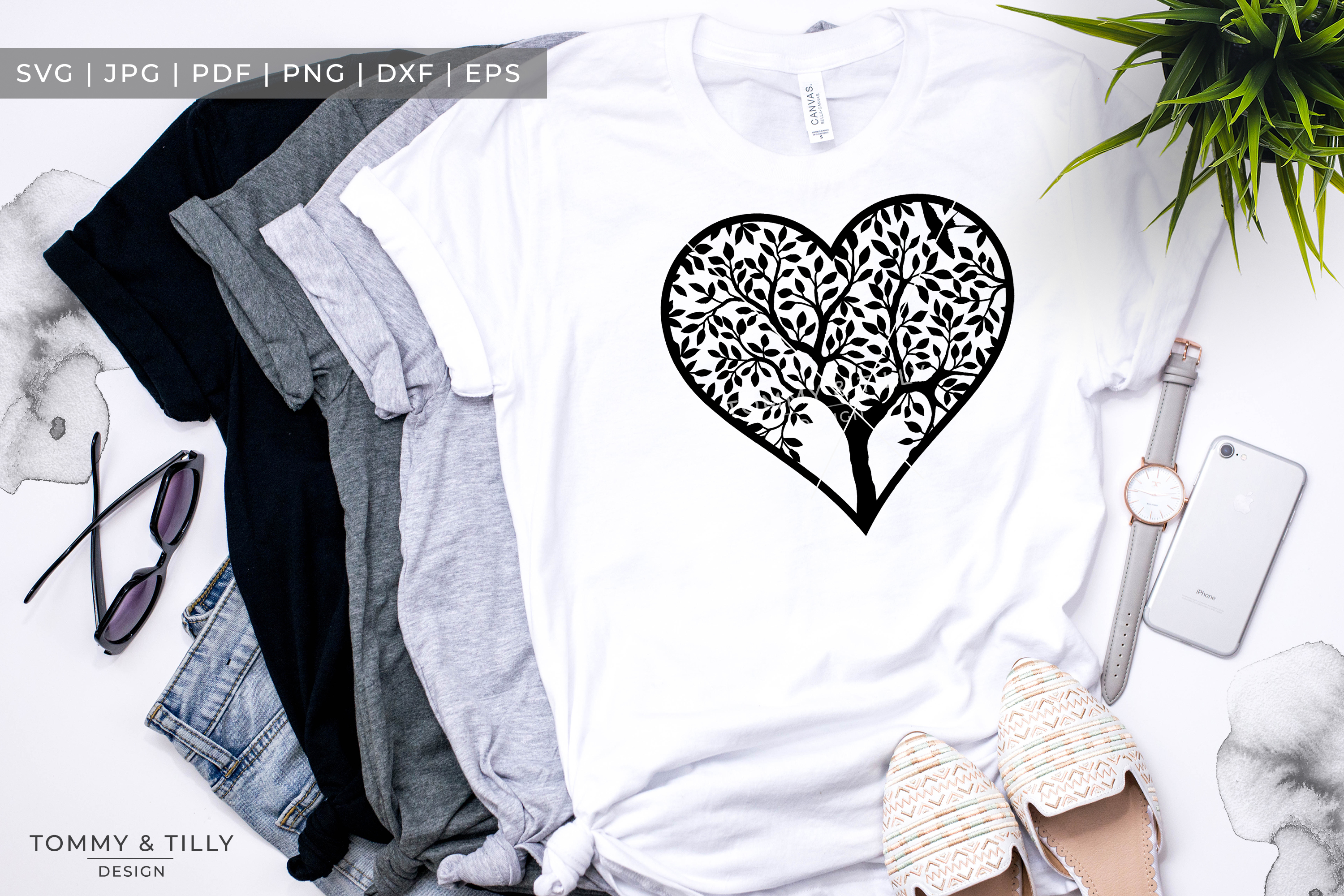 Heart Tree - Papercut Template SVG EPS DXF PNG PDF JPG example image 7
