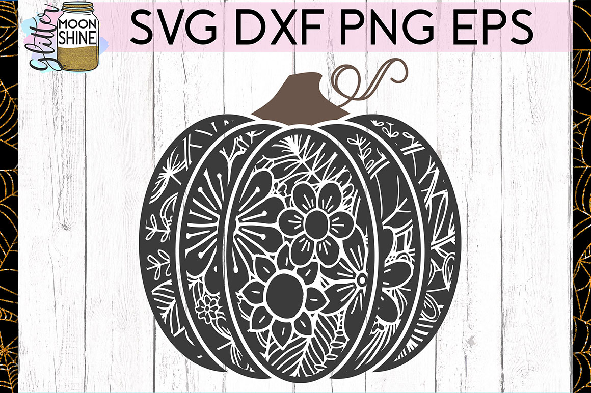 Floral Pumpkin SVG DXF PNG EPS Cutting Files example image 1