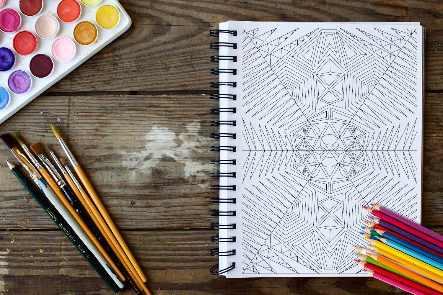 Geometric Patterns Coloring Book 30 Geometric Designs example image 4