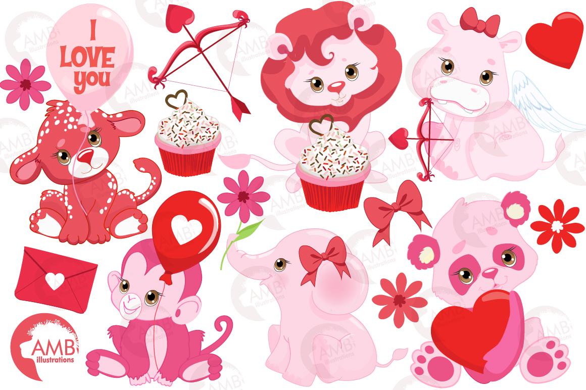 Happy Valentine clipart, Valentine jungle clipart, graphics illustrations AMB-1577 example image 5