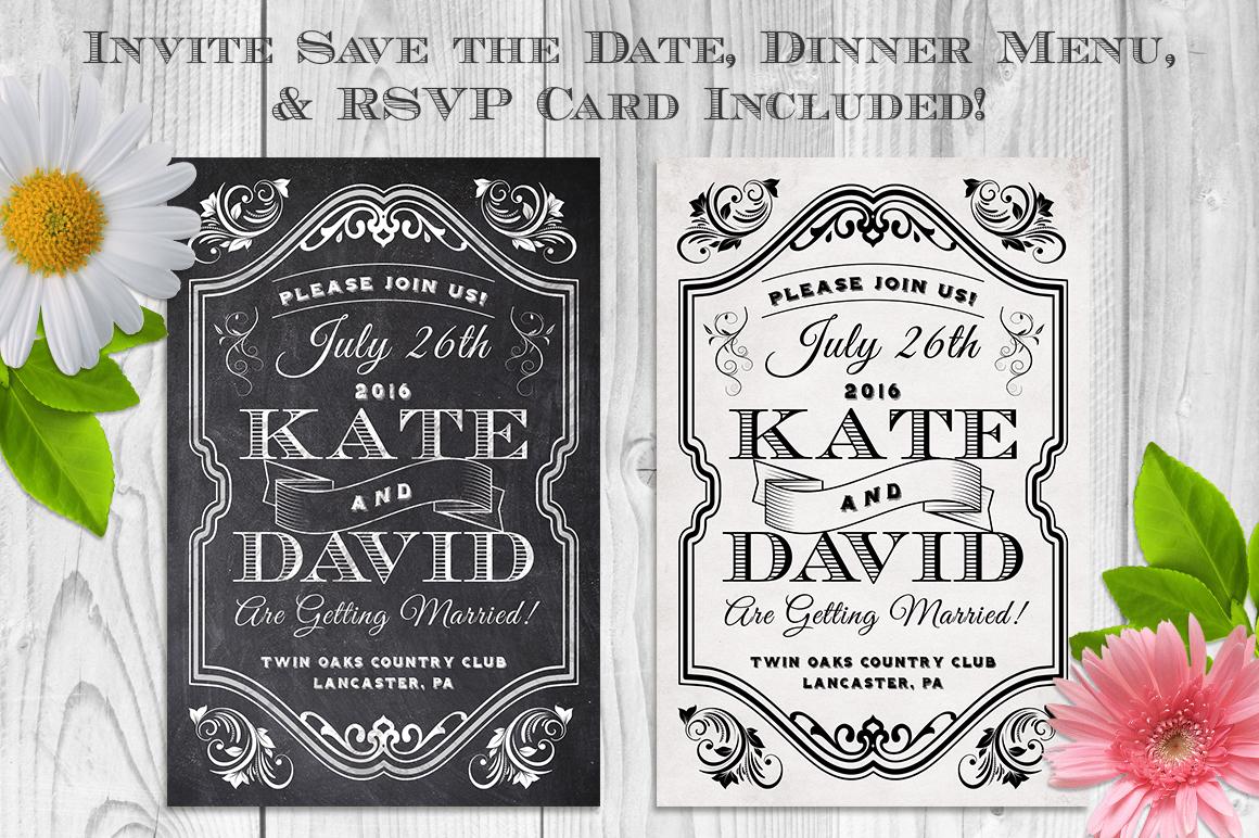 Elegant Chalk Wedding Invite Bundle example image 2