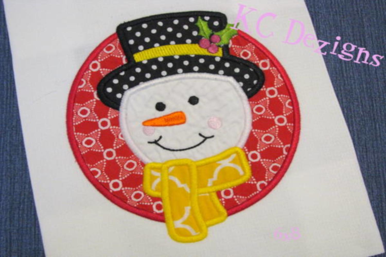 Snowman Circle Machine Applique Embroidery Design example image 2