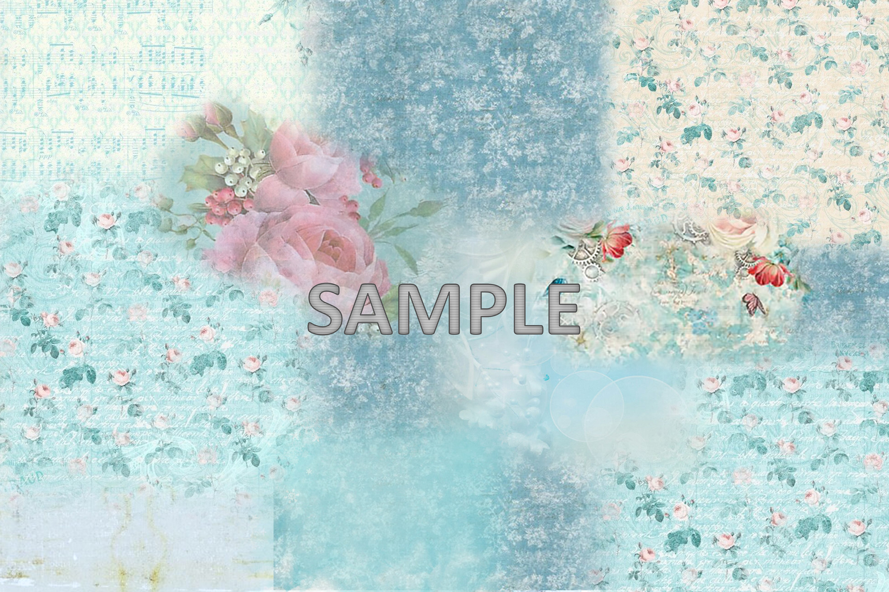 6 Shabby Chic Vintage Printable backgrounds PDF example image 2