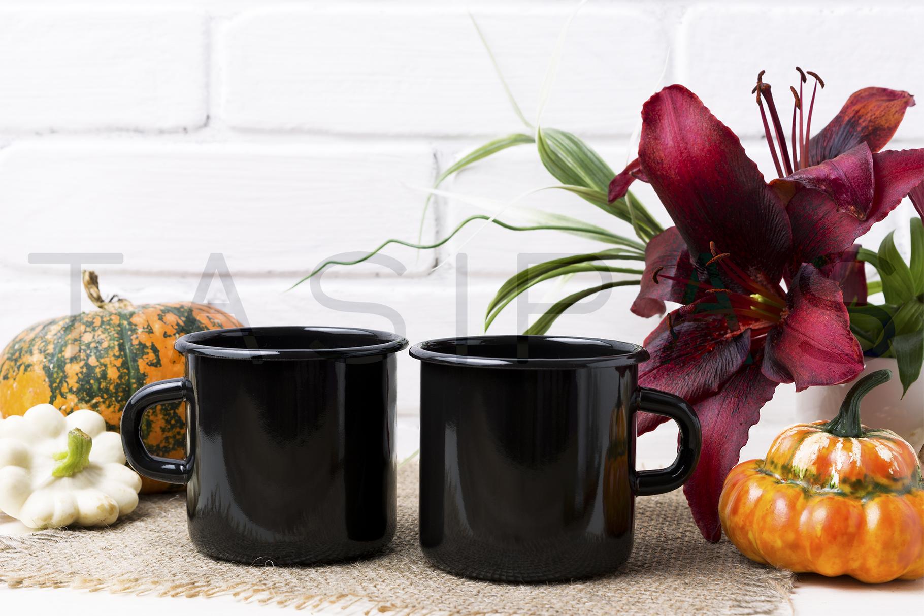 Two black campfire enamel mug mockup with pumpkin example image 2