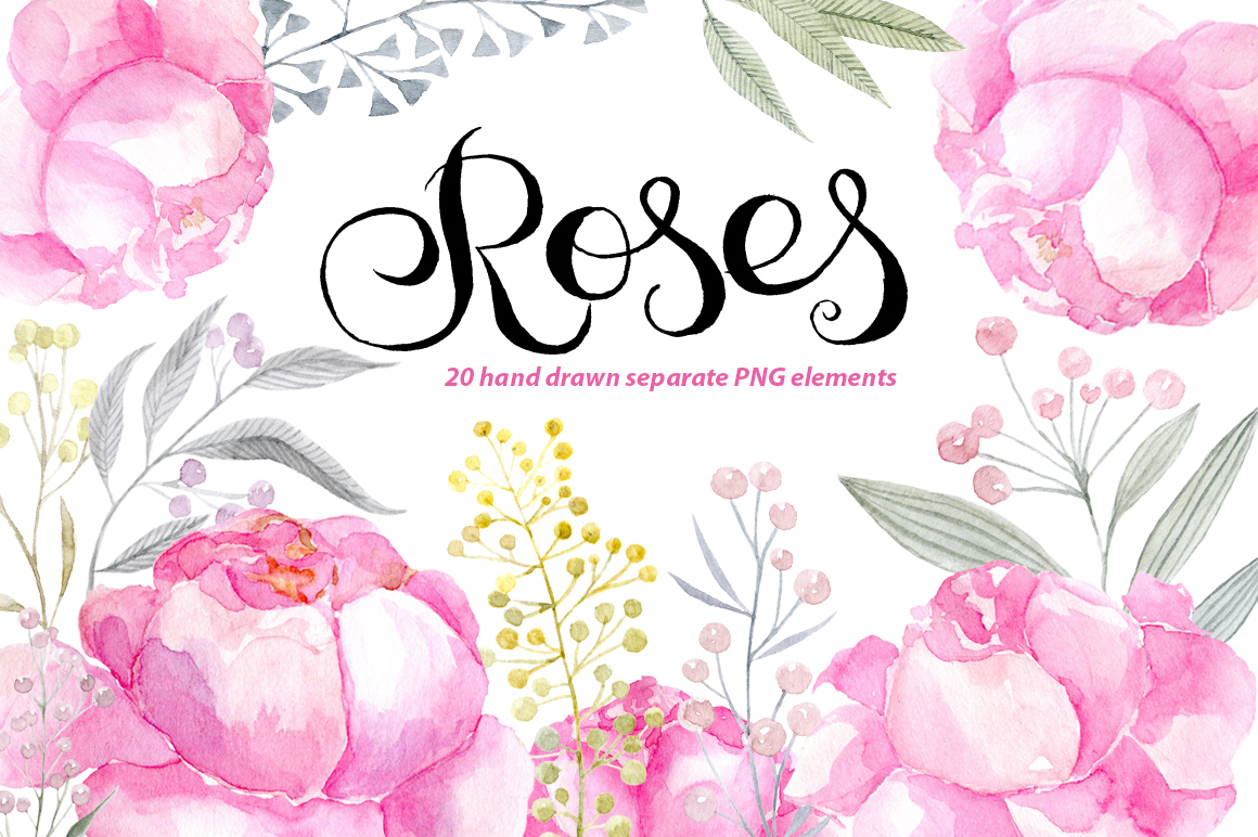 Watercolor pink roses png clipart example image 1
