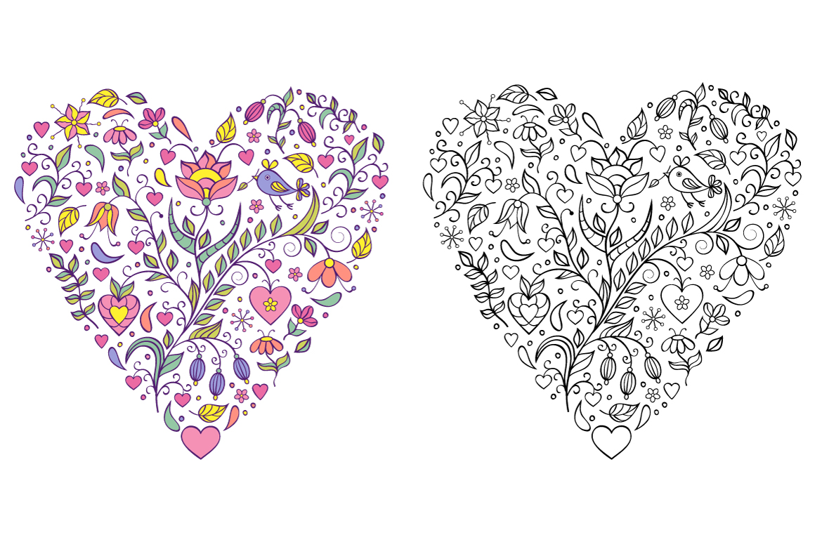 Floral Valentine's hearts example image 6