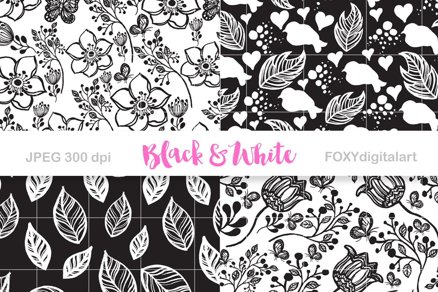 Digital Paper Black And White Scrapbook Floral Background