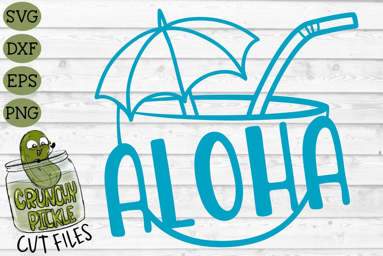 Aloha Coconut Drink Summer Beach SVG Cut File example image 2