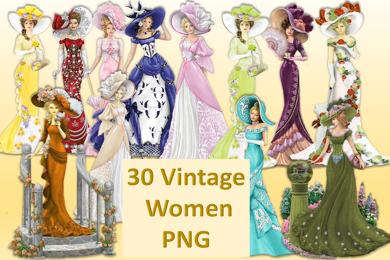 30 Vintage Victorian WOmen CLipart Bundle CU example image 1
