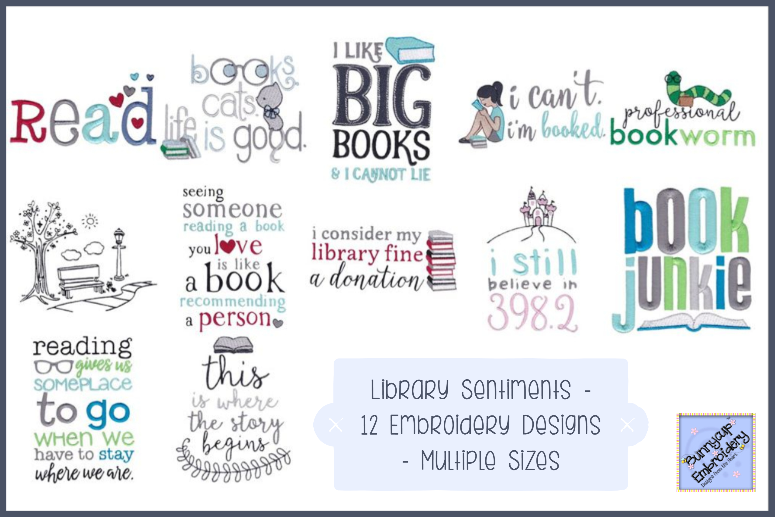 Library Sentiments - 12 Machine Embroidery Designs example image 1