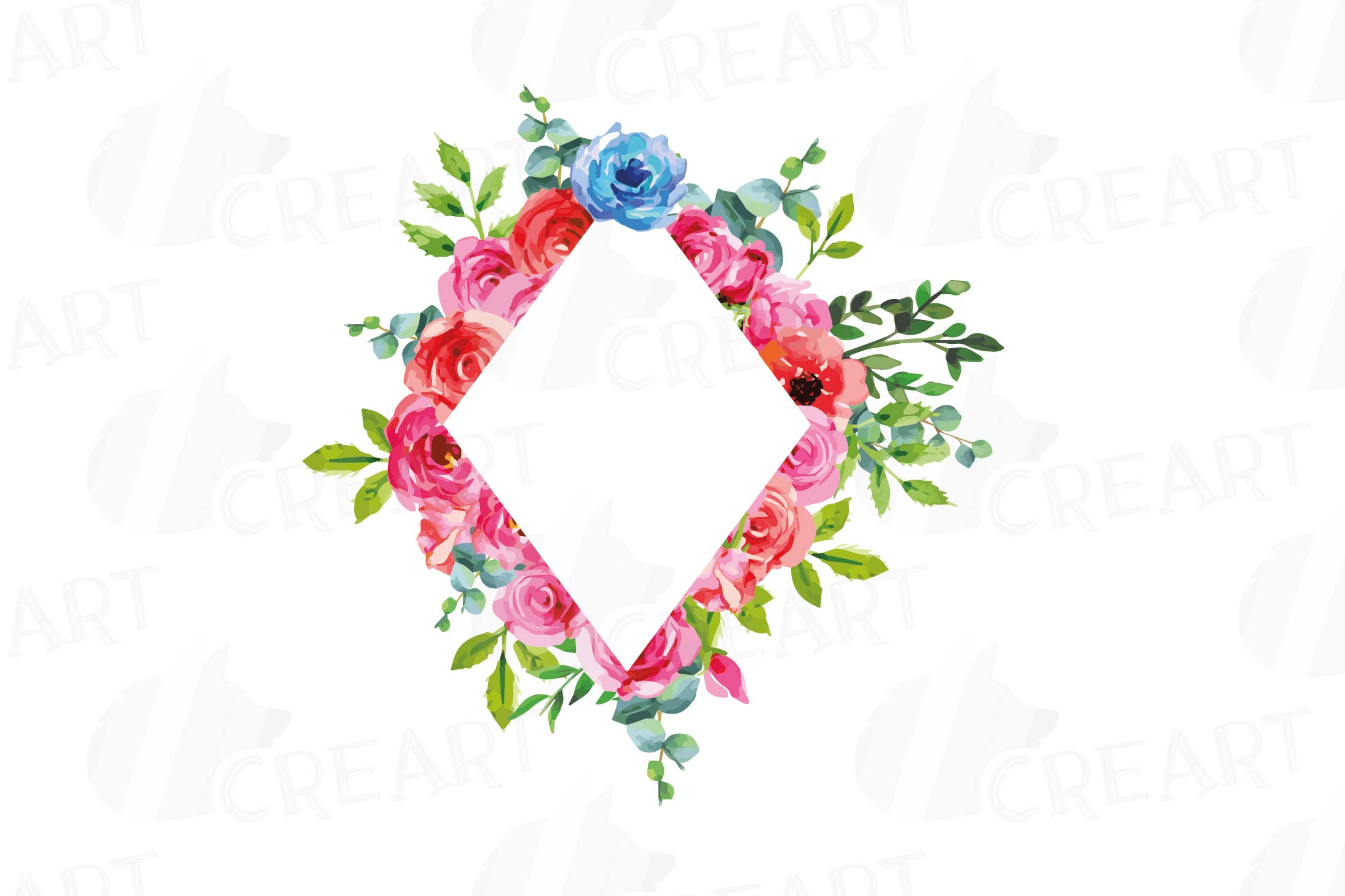 Boho pink and blue floral frames watercolor clip art pack example image 13