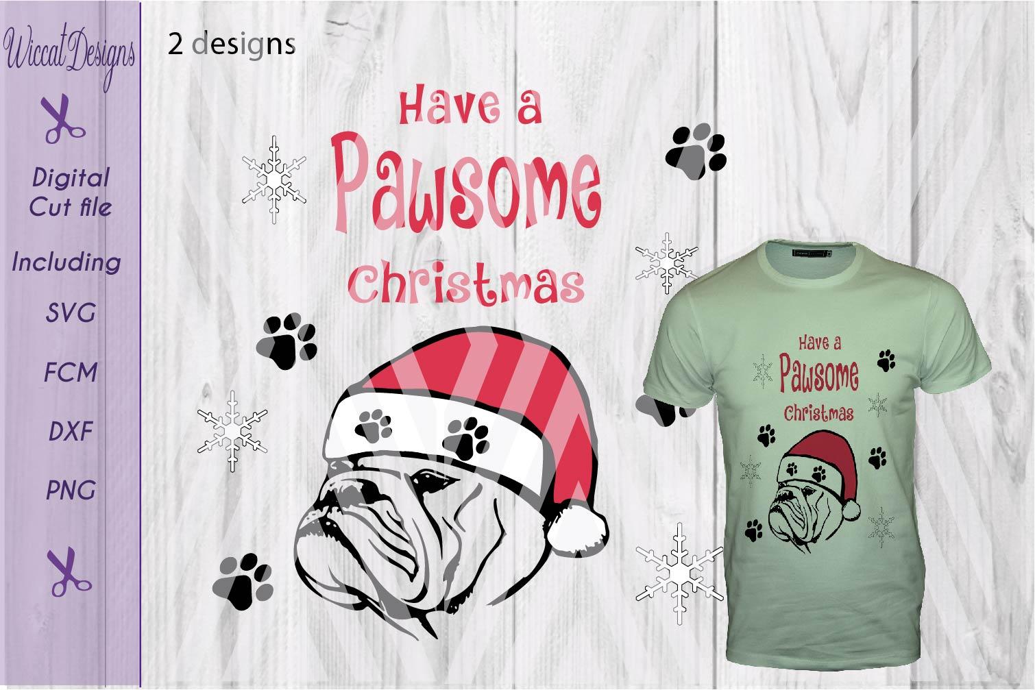 Christmas Bulldog svg, Pawsome svg, santa dog cut file example image 2