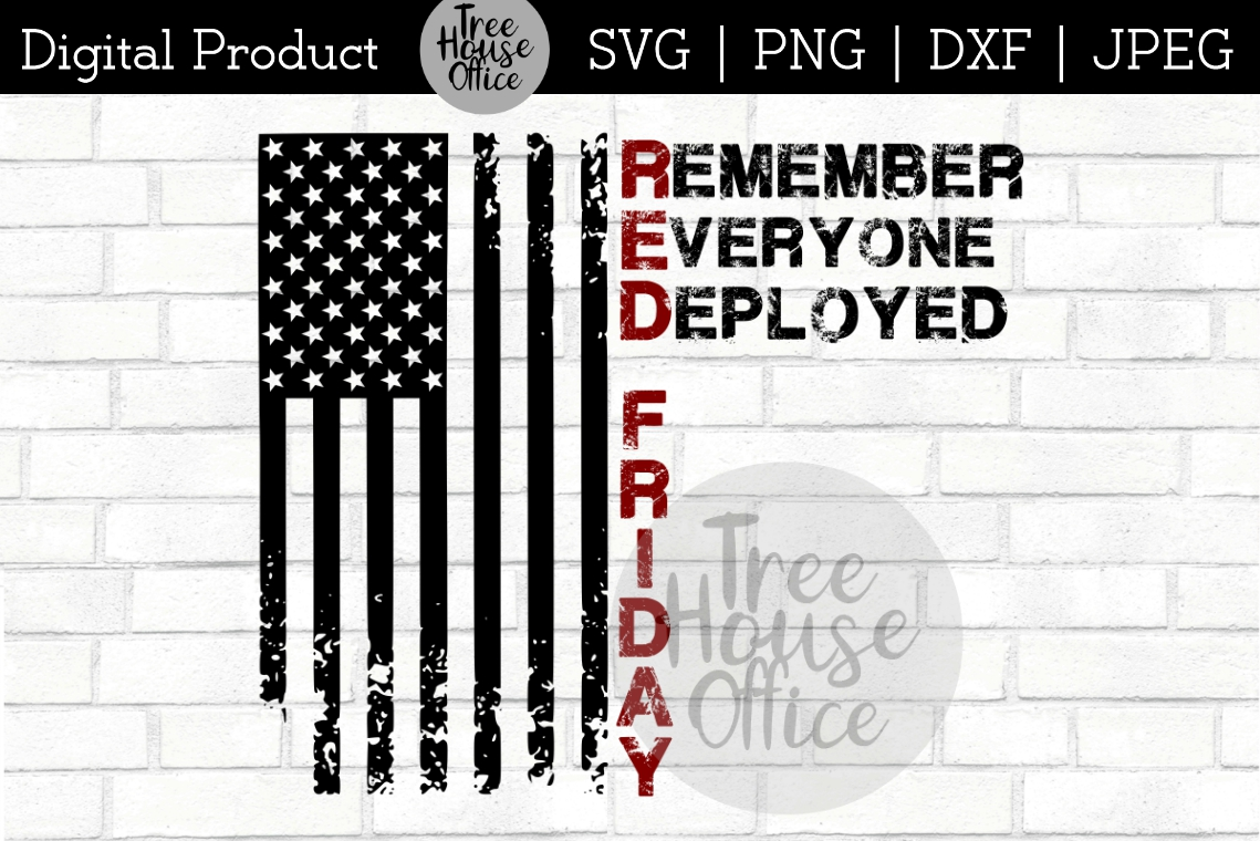 RED Friday Remember Everyone Deployed Veterans SVG PNG JPEG example image 1