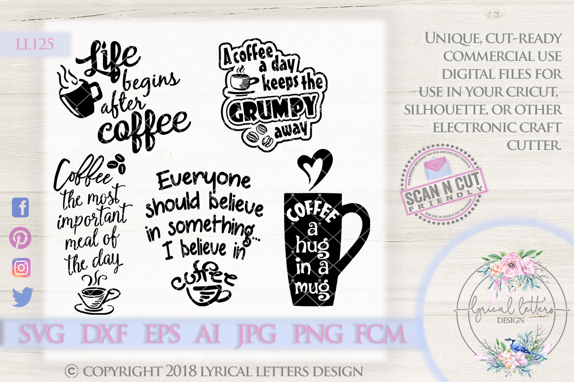 Coffee Bundle of 5 SVG Cut Files LL125 example image 1