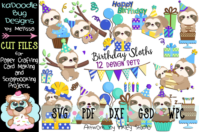 Birthday Sloth Bundle - 12 Cut File Designs - 20 Pieces SVG example image 1