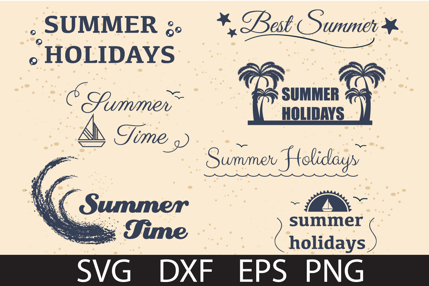 SUMMER HOLIDAY PACK SVG DXF PNG EPS example image 1