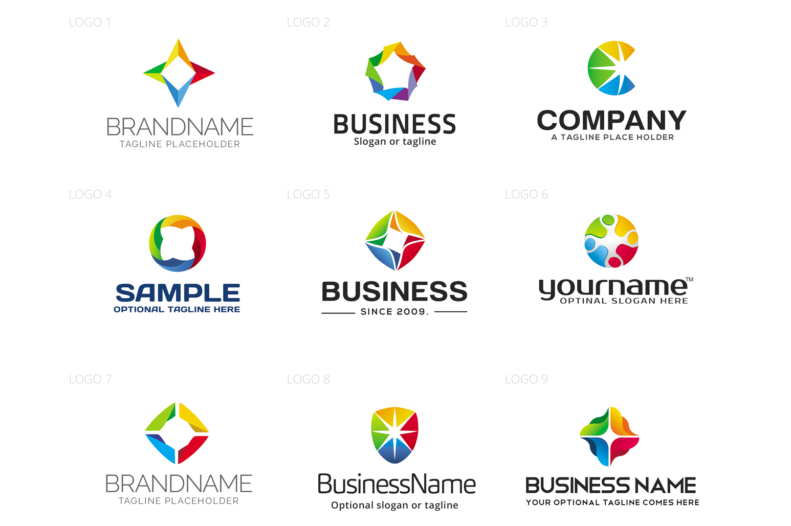 Abstract & Colorful Logo Design Set example image 2