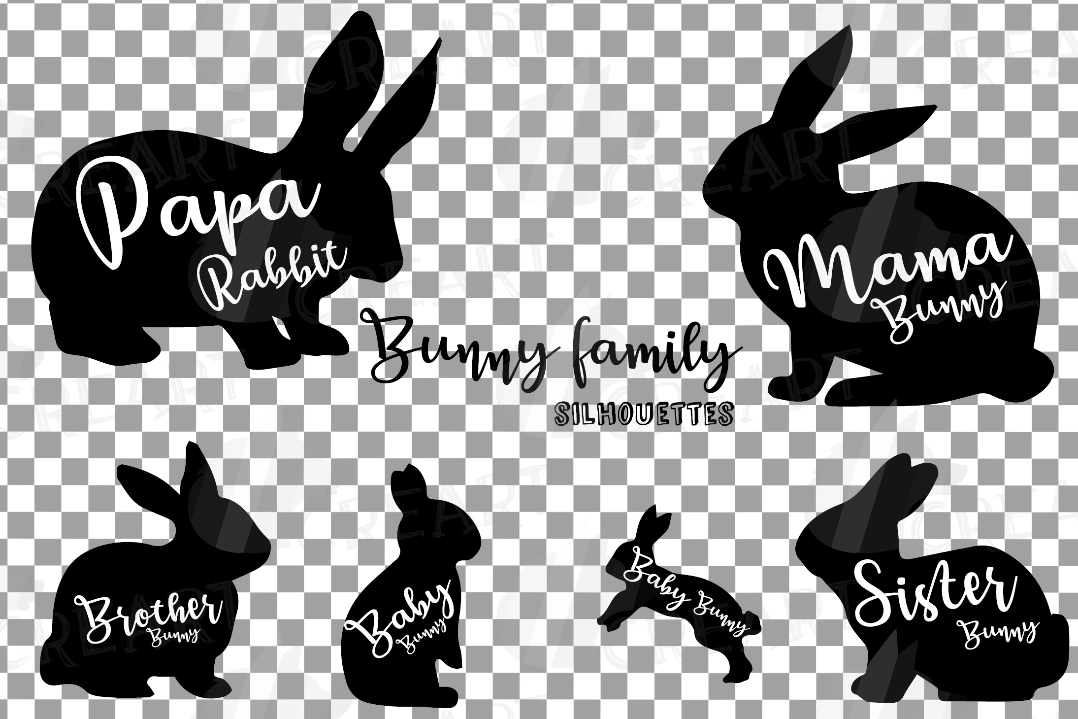 Rabbit family silhouettes, bunny silhouette svg cutting file example image 5