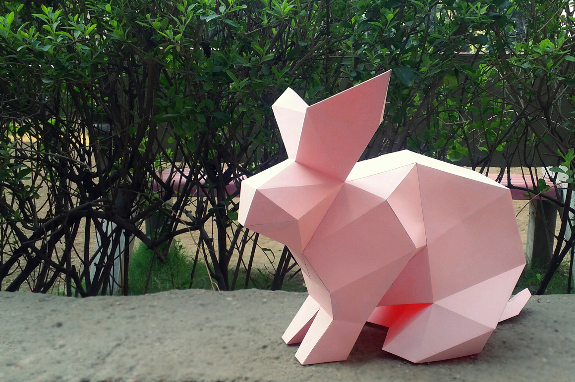 DIY Paper Rabbit - 3d papercraft example image 2