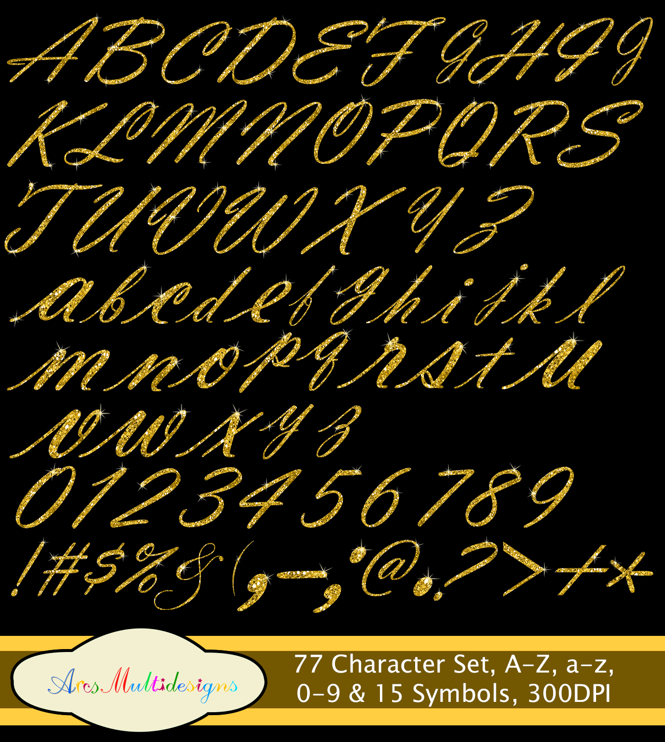 Glitter gold alphabet script / PNG high quality alphabet set for all kind of projects / digital fonts / gold letters / gold fonts example image 3