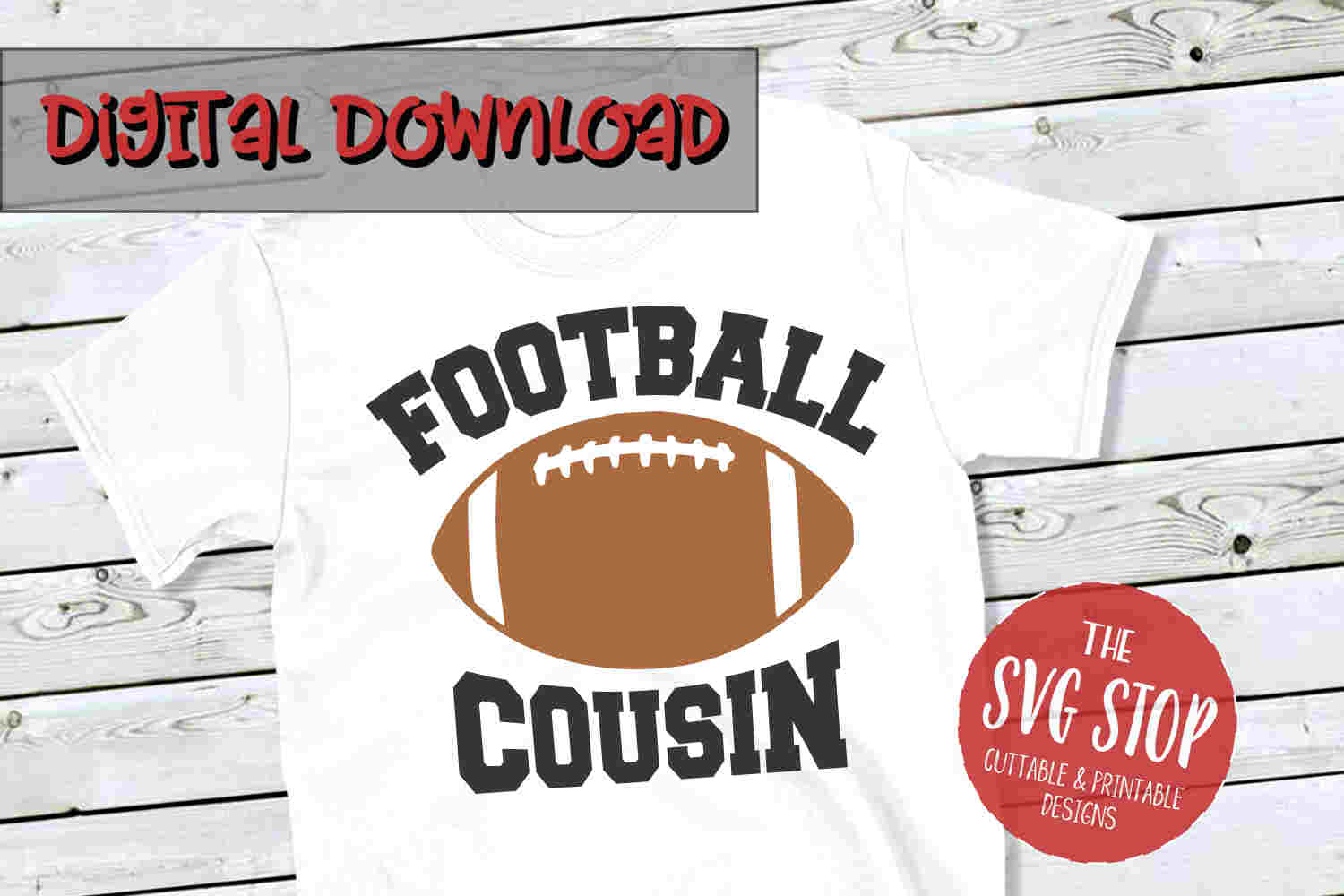 Football Cousin -SVG, PNG, DXF example image 1