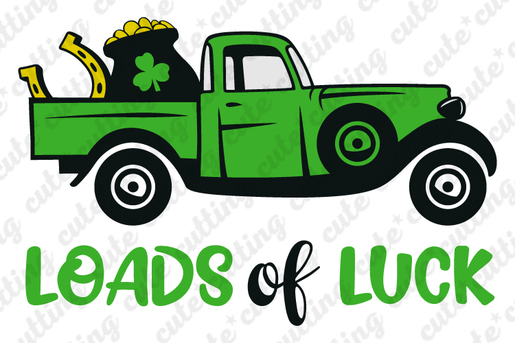 St. Patricks truck, Loads of luck, St. Patricks day svg, dxf example image 1