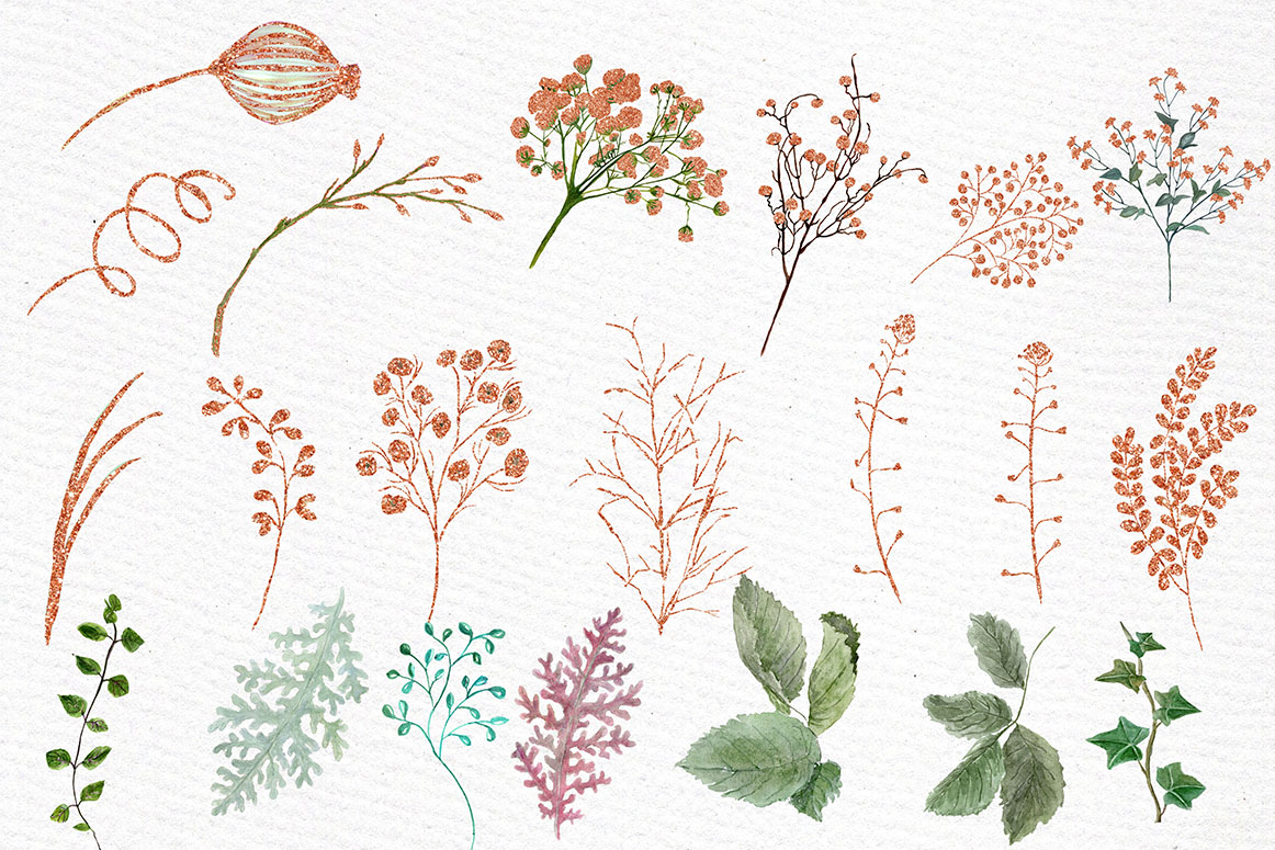 Rose Gold watercolor flowers clipart example image 3