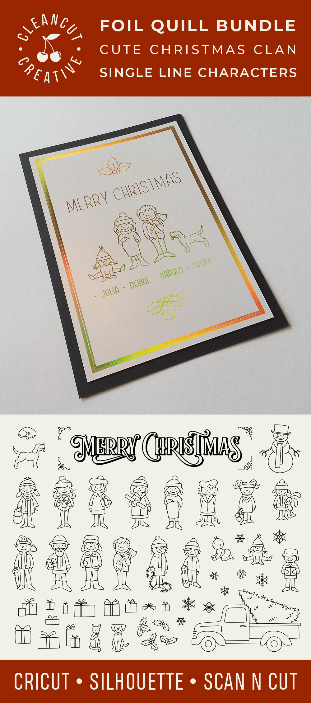 Foil Quill Edition - Cute Christmas Clan - family figures example image 6