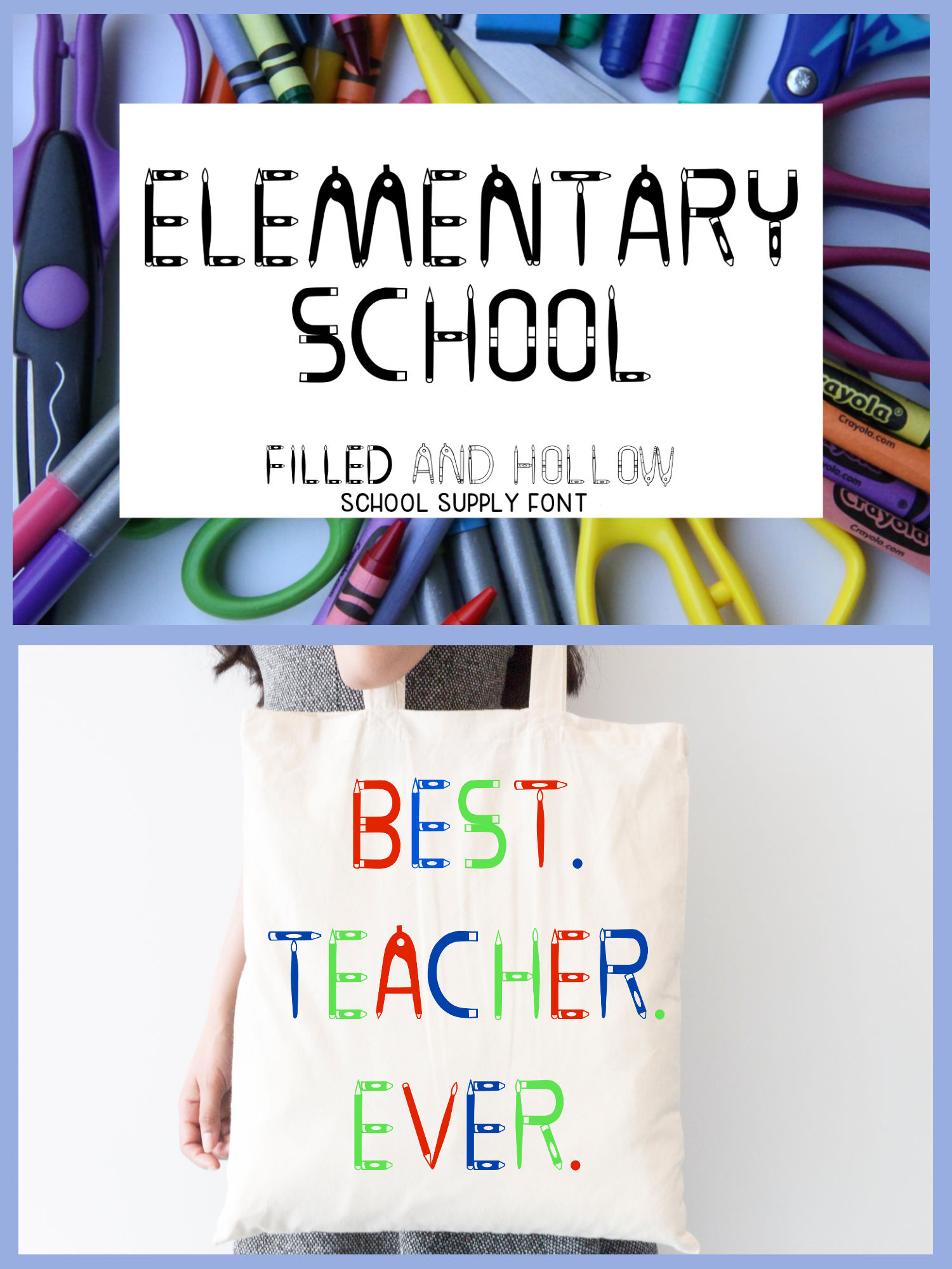 Elementary School - A filled and hollow school font example image 7