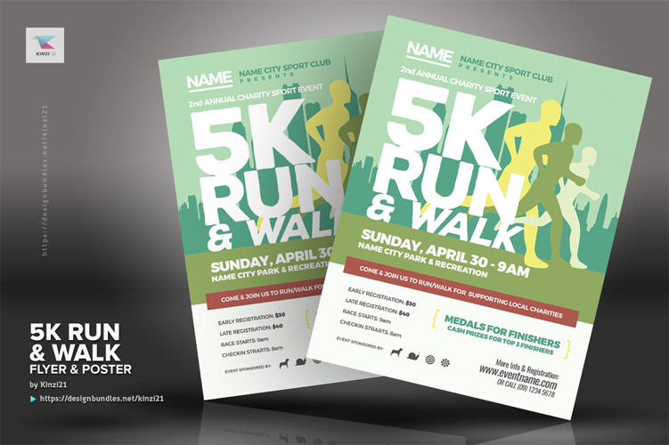 5K Run & Walk Flyer & Poster Templates example image 3