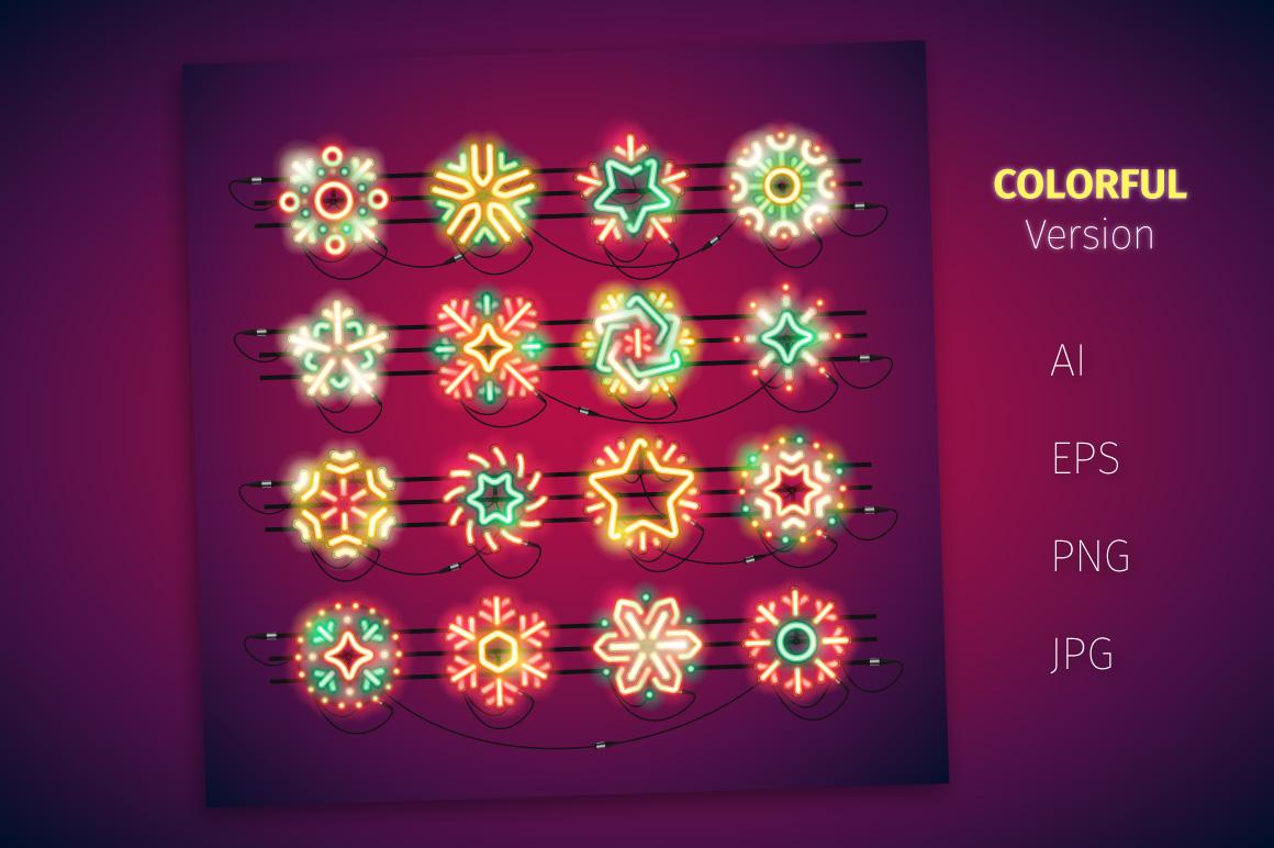 Christmas Colorful Neon Snowflakes example image 3