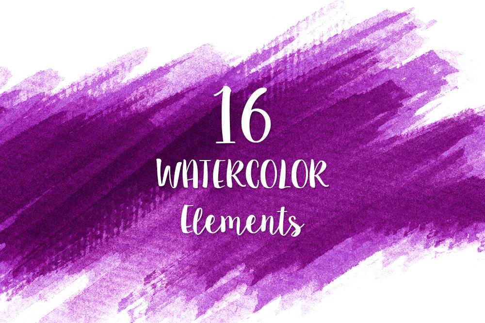 16 Purple Watercolor Design Elements example image 1