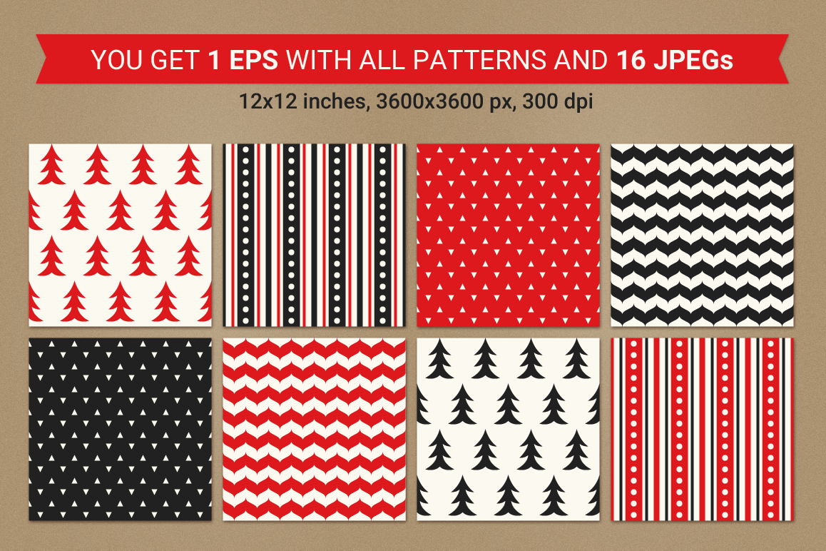 16 Christmas Seamless Patterns example image 2
