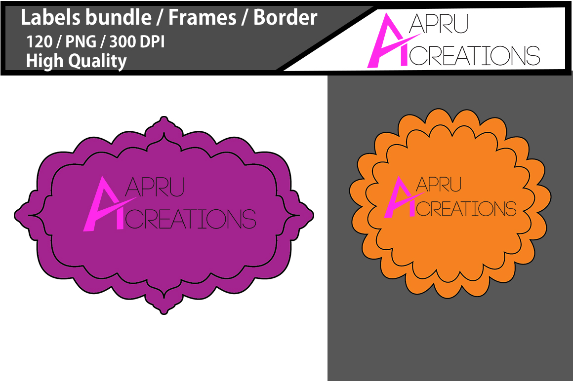 Label frame clipart / label high quality 120 / frames / borders / printable high quality designs / hand drawn frames / commercial use example image 2
