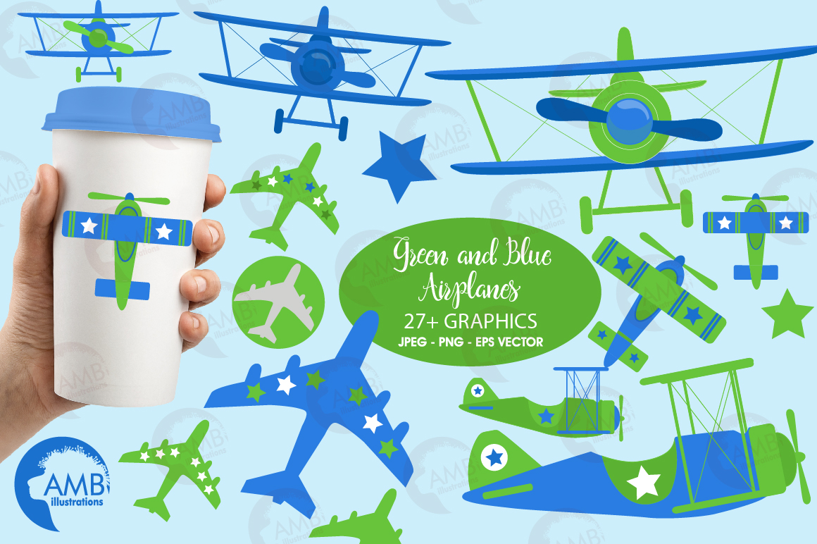 Airplane clipart, Airplane graphics, Biplane, Plane clipart, graphics, illustrations AMB-2270 example image 1