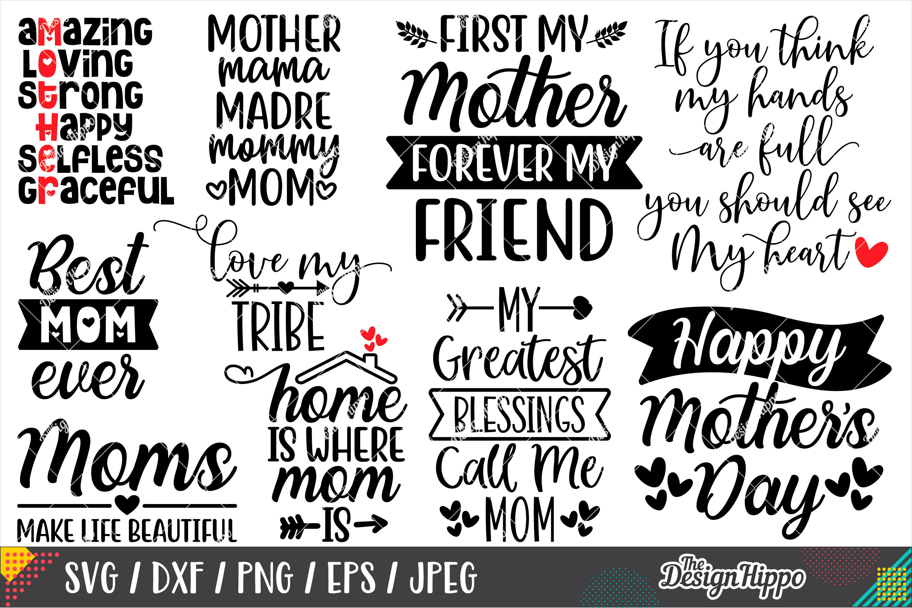 Mom Quotes SVG Bundle, 20 Designs, SVG PNG DXF Cutting Files example image 2