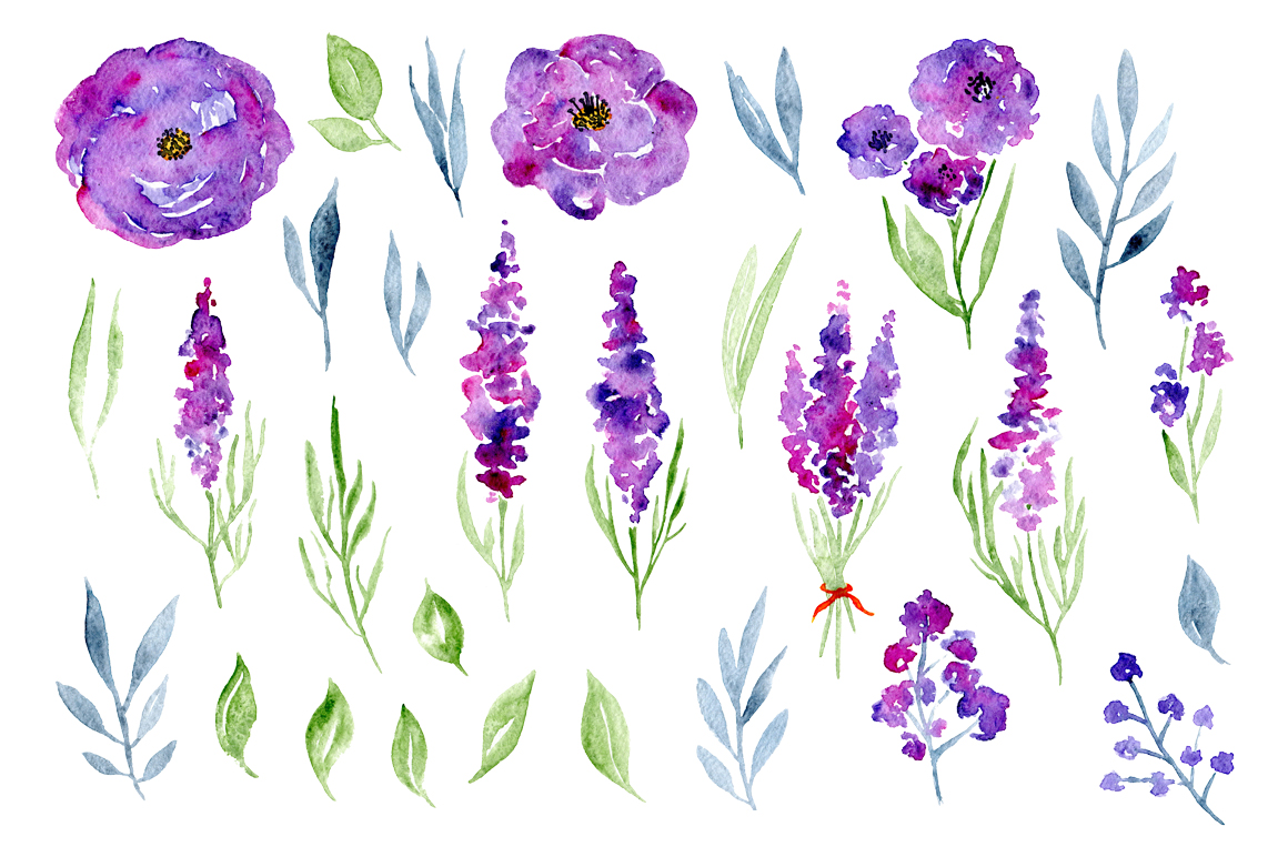 Watercolor violet lilac lavender, roses flowers example image 2