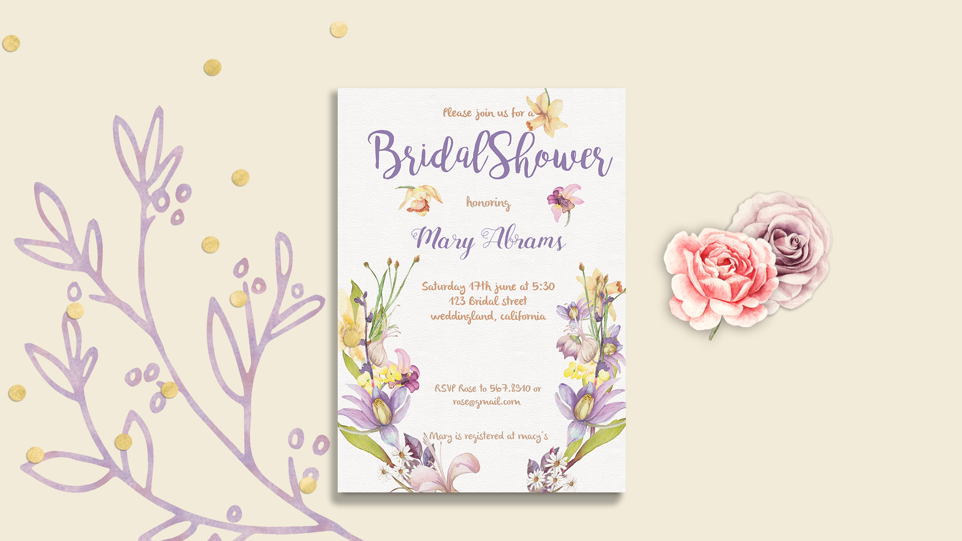 Floral Bridal Shower Invitation Card Template example image 1