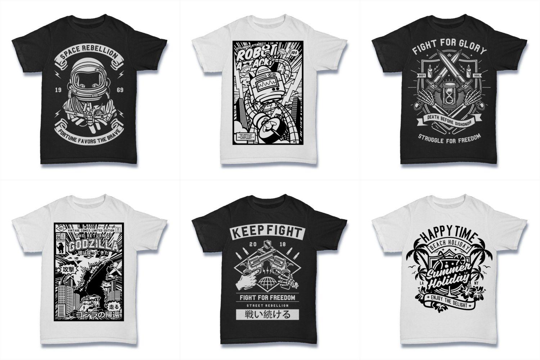 100  Vector Tshirt Designs ( B/W Concept ) example image 15