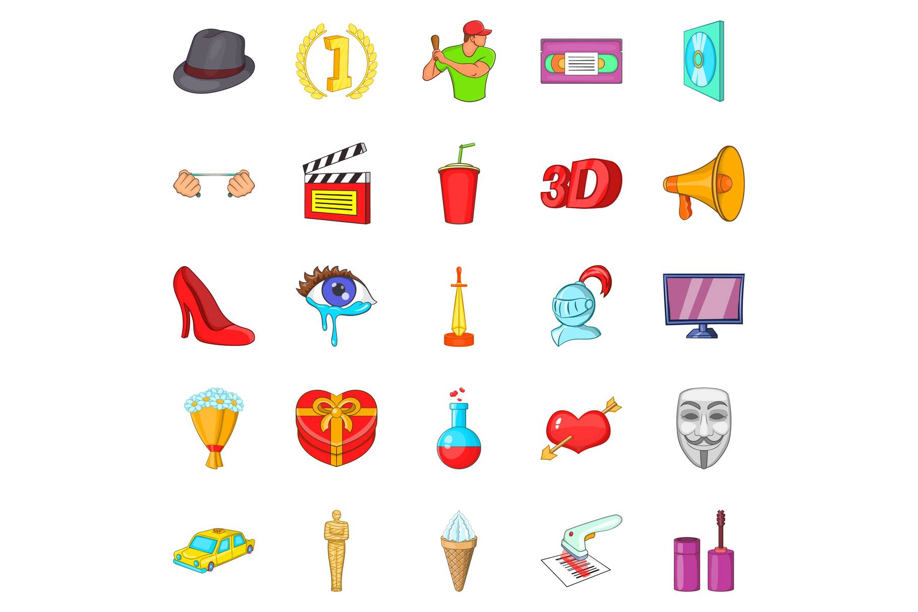 Celluloid icons set, cartoon style example image 1
