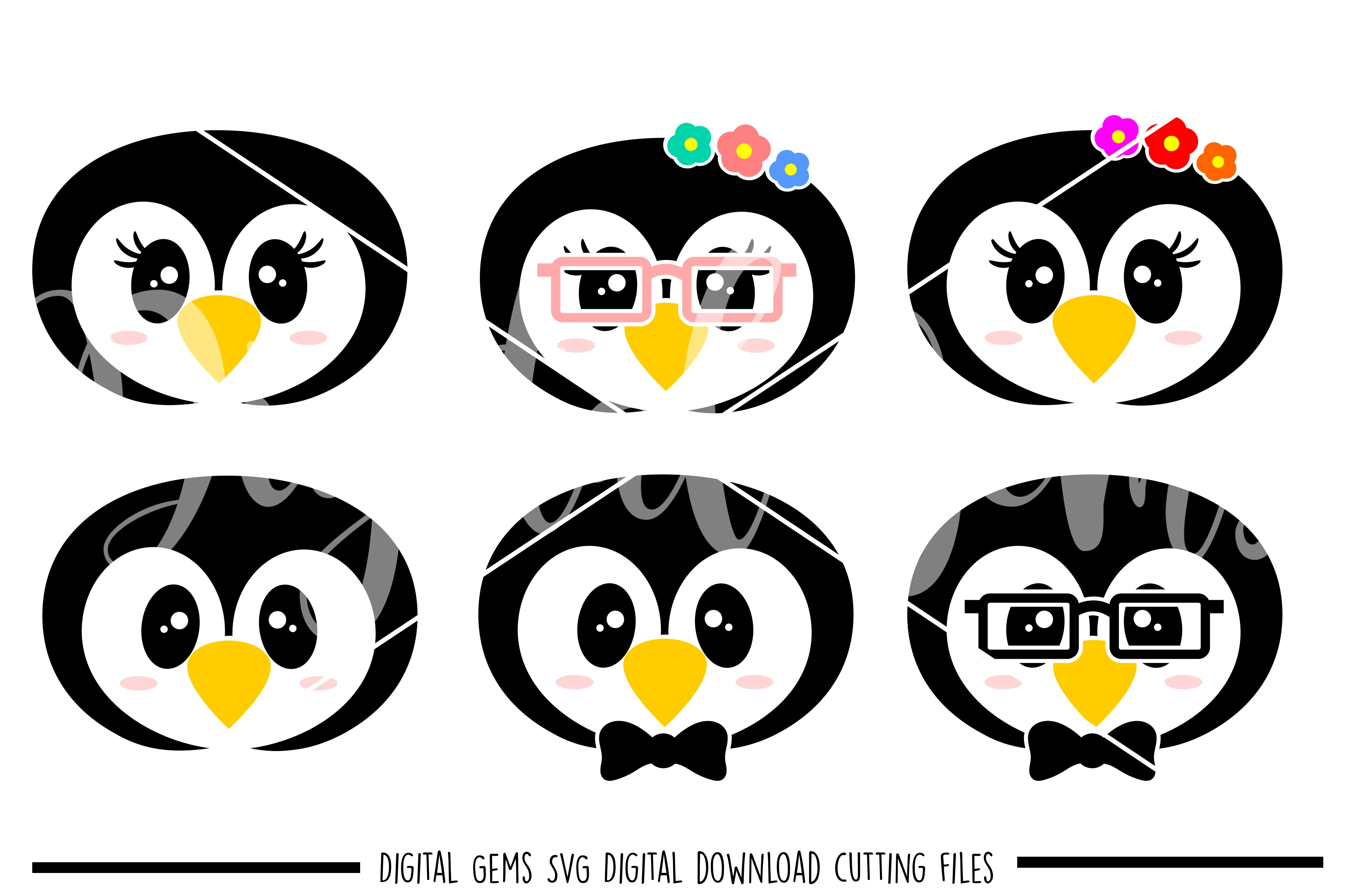 Penguin faces SVG / PNG / EPS / DXF Files example image 1