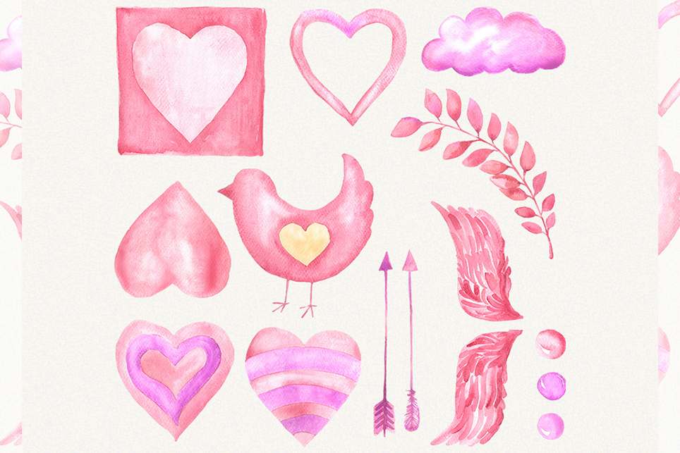 Love clipart, heart clipart, watercolor heart clipart example image 2