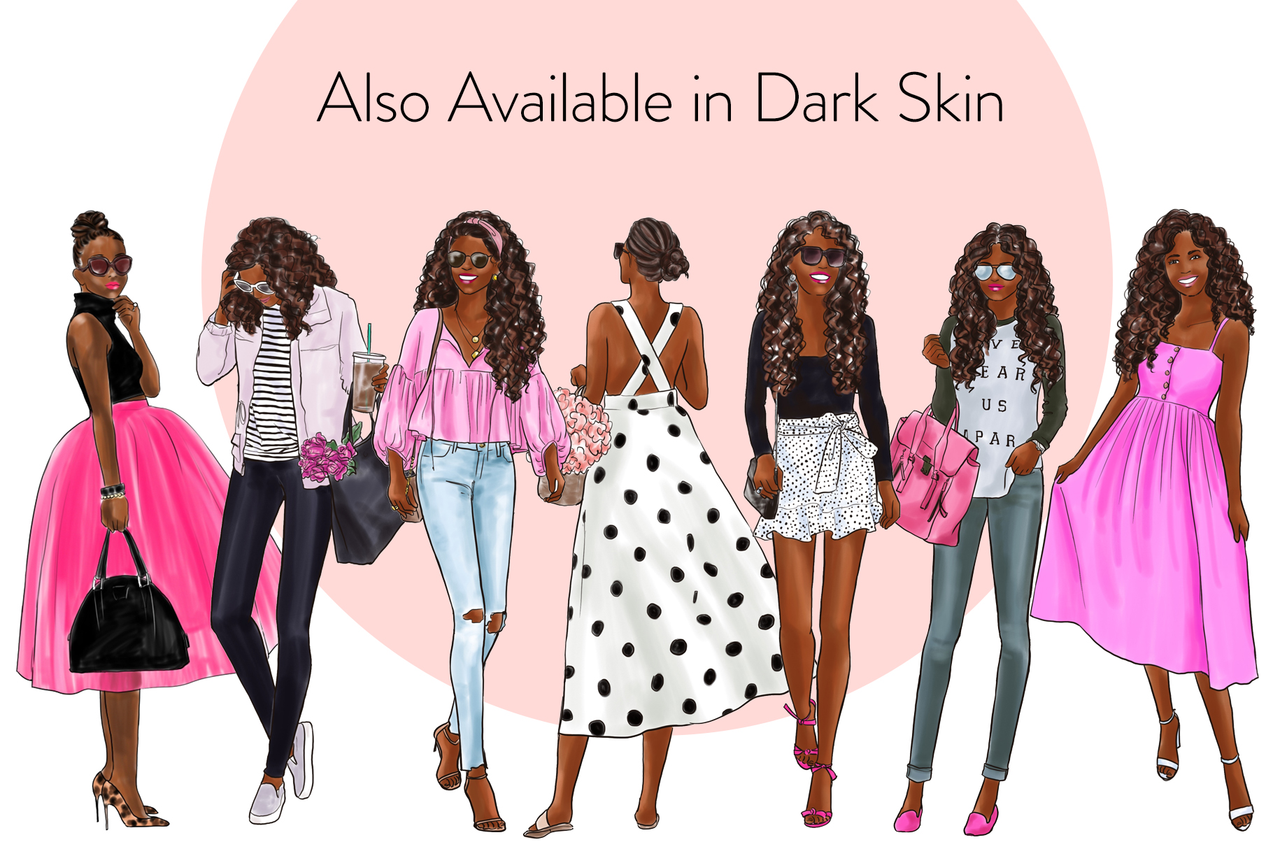 Fashion illustration clipart - Girls in Black & Pink - Light example image 4