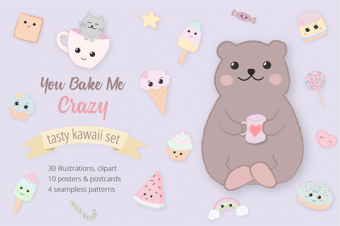 Sweet Kawaii Cute Cake Illustration Clipart Set example image 1