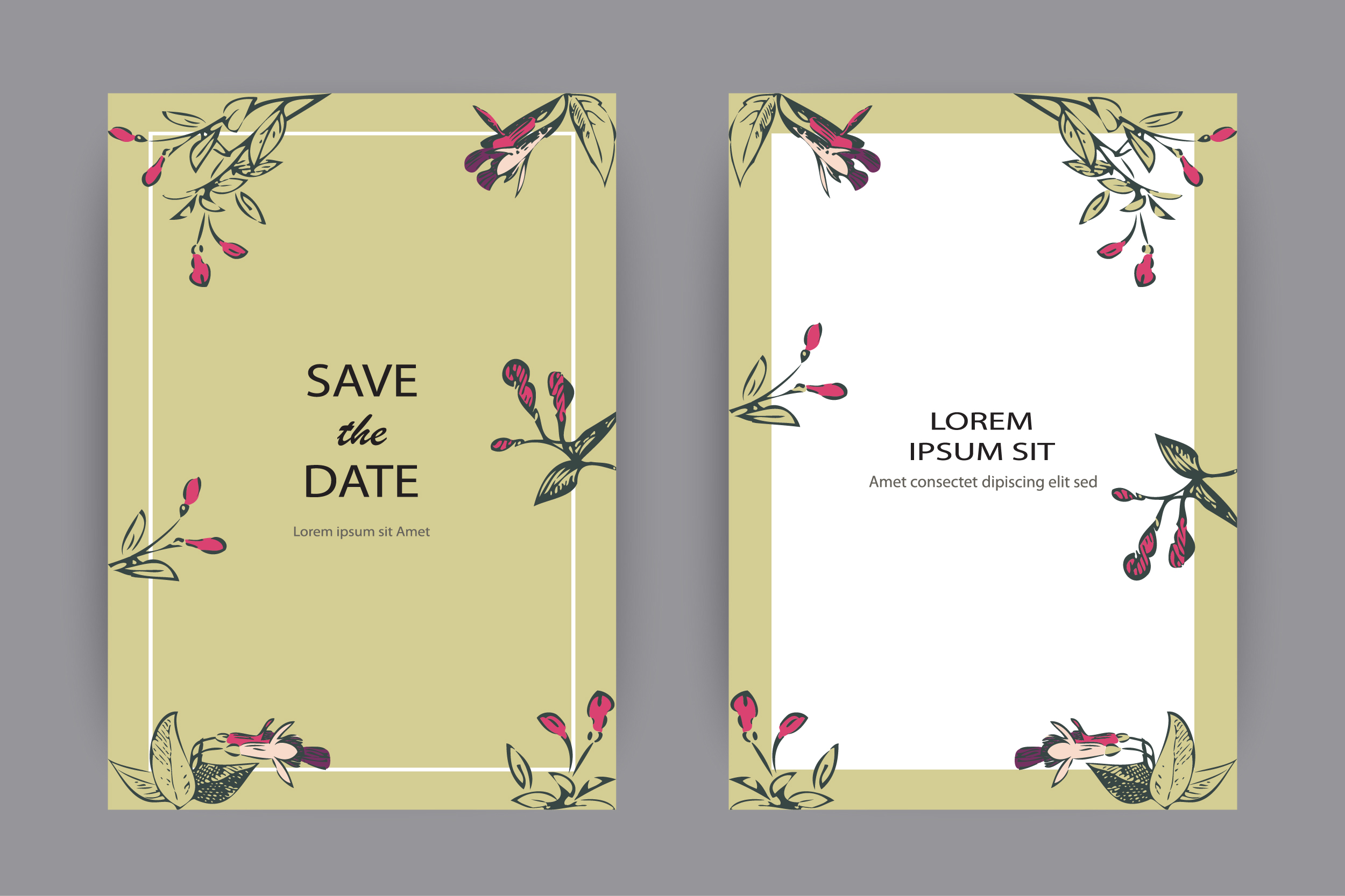 Fuchsia flowers wedding invitation card template design example image 1