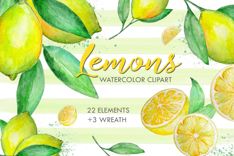 Watercolor Lemon Clipart, Tropical Fruit example image 1
